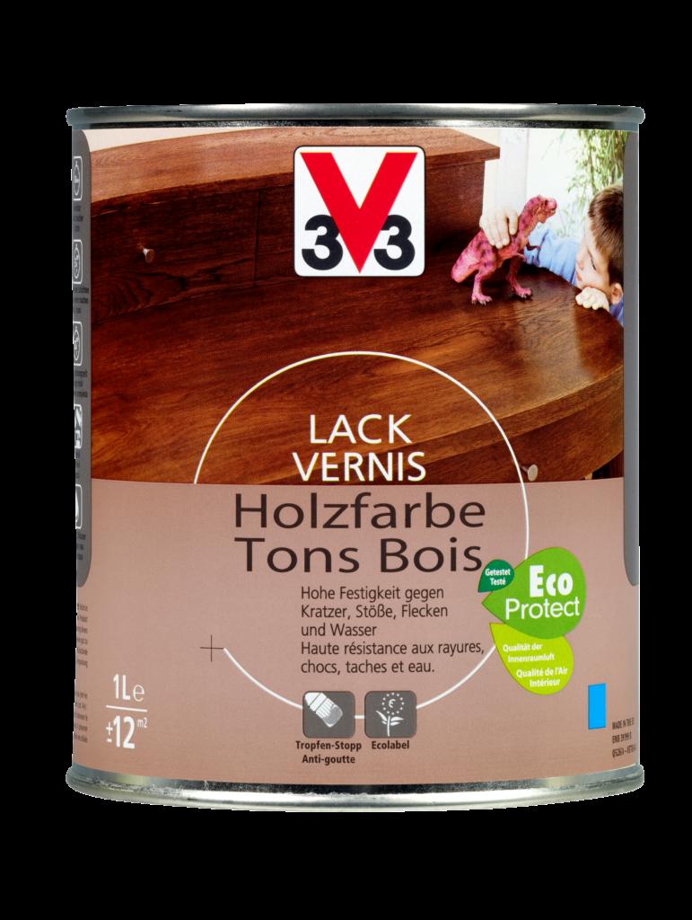 Le vernis tons bois V33 à base d'eau est idéal pour la décoration et la protection du bois d'intérieur tel que meubles, objets et portes.